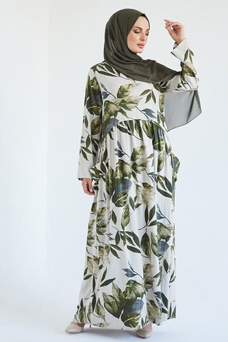 Suem Haki Beli Büzgülü Kolu Apoletli Elbise