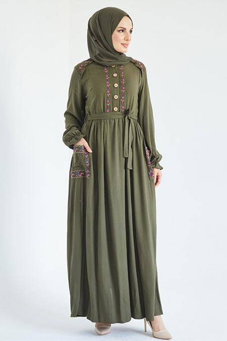 Suem Haki Önü Omuzu Şerit Nakışlı Elbise