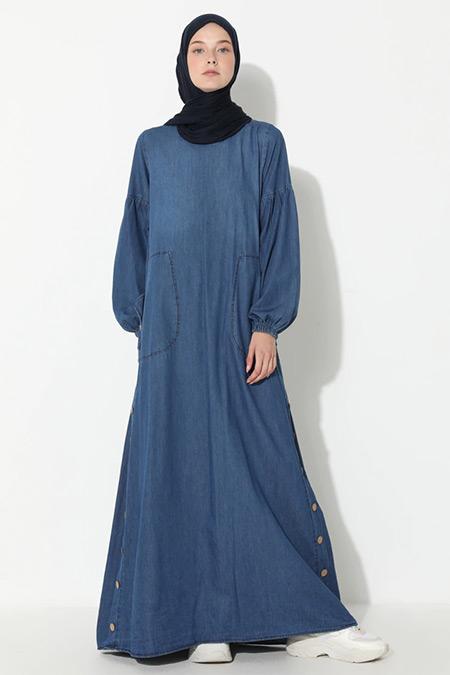 Suem Koyu Mavi Desenli Kot Elbise