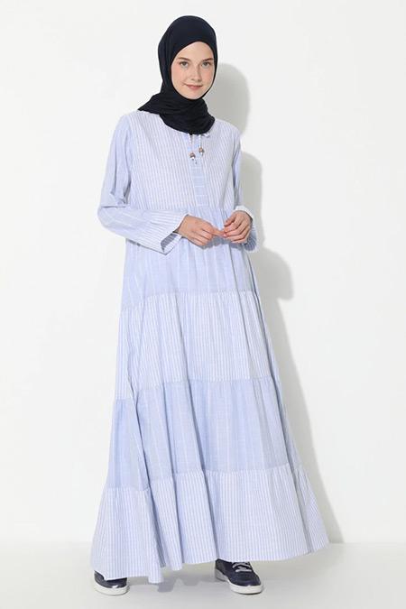 Suem Mavi Çizgi Desenli Elbise