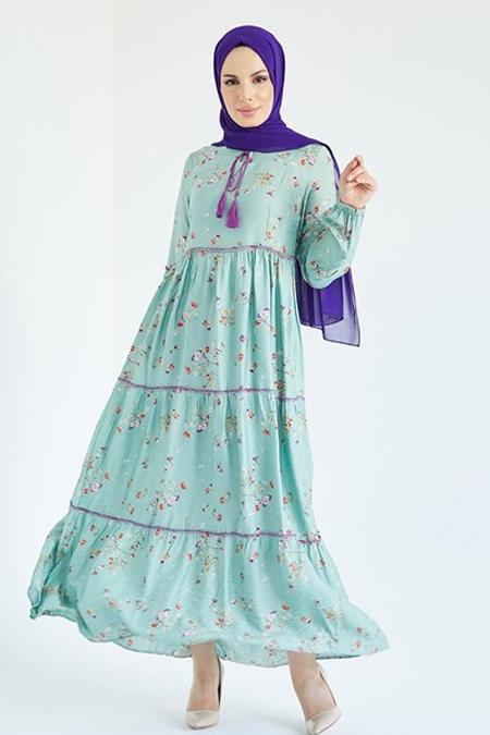 Suem Mint Yeşili Yakası Bağlamalı Elbise