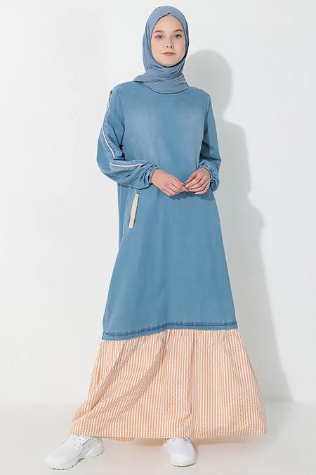 Suem Turuncu Cep Detaylı Kot Elbise