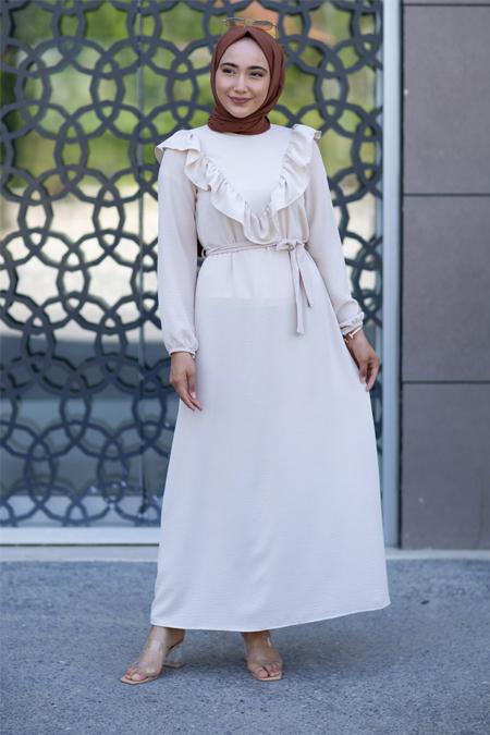 Taş Fırfırlı Tesettür Elbise