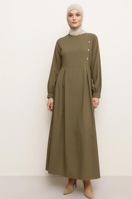 Tavin Haki Düğme Detaylı Elbise