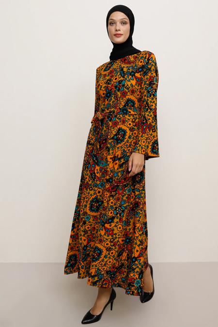 Tavin Hardal Desenli Elbise