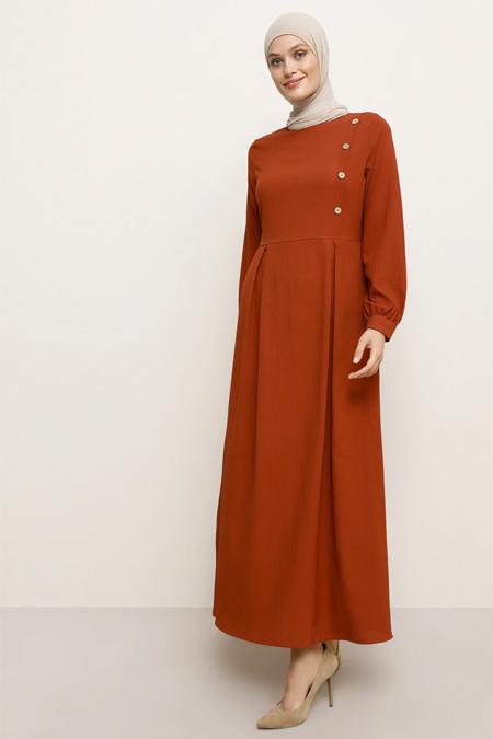 Tavin Kiremit Düğme Detaylı Elbise