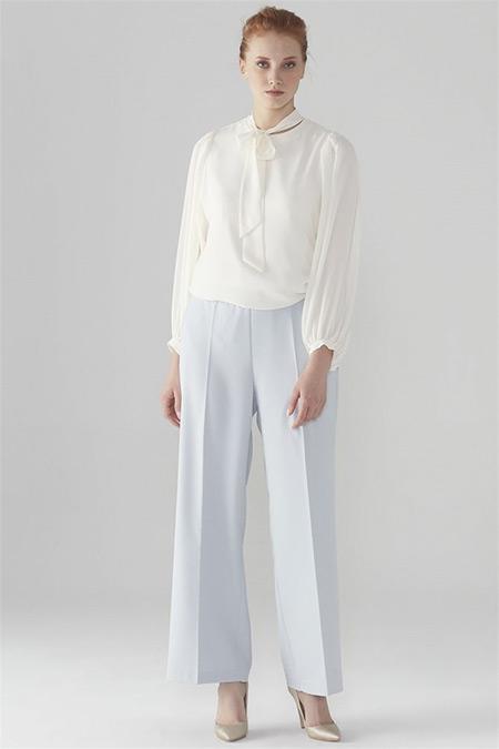 Zühre Açık Mavi Bel Lastik Detaylı Pantolon