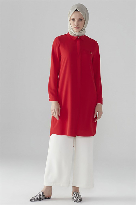 Zühre Kırmızı Gizli Düğme Detaylı Tunik