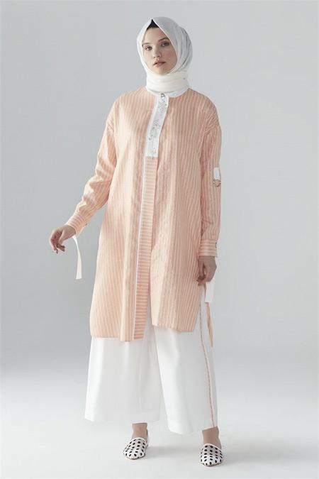 Zühre Oranj-Ekru Önü İşlemeli Pantolonlu Takım