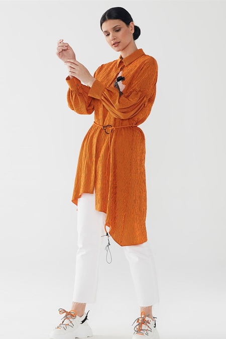 Zühre Oranj Kemer & Broş Detaylı Tunik