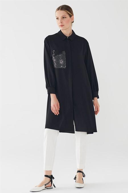 Zühre Siyah Siyah Pul Payetli File & İşleme Detaylı Düğmeli Tunik