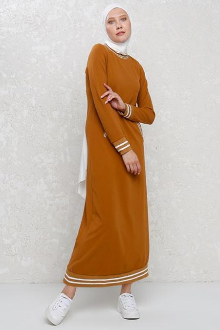 Ribanalı Hardal Spor Elbise