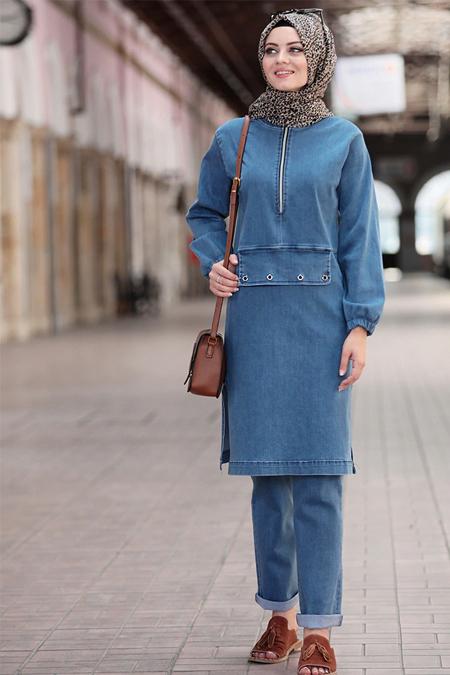 Ahunisa Mavi Kot Tunik & Pantolon İkili Takım