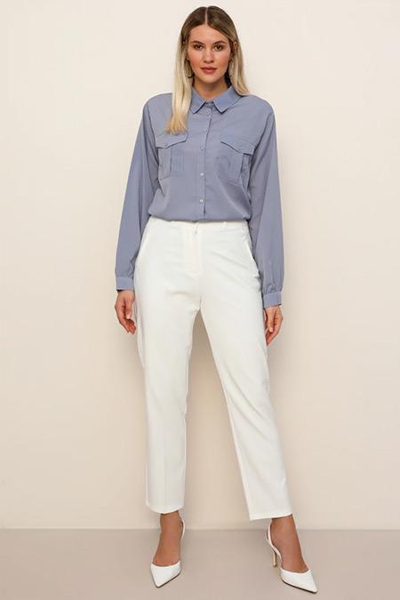 Alia Beyaz Klasik Pantolon