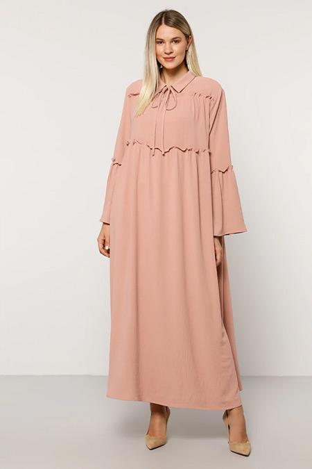Alia Gül Kurusu Yakası Bağlamalı Elbise