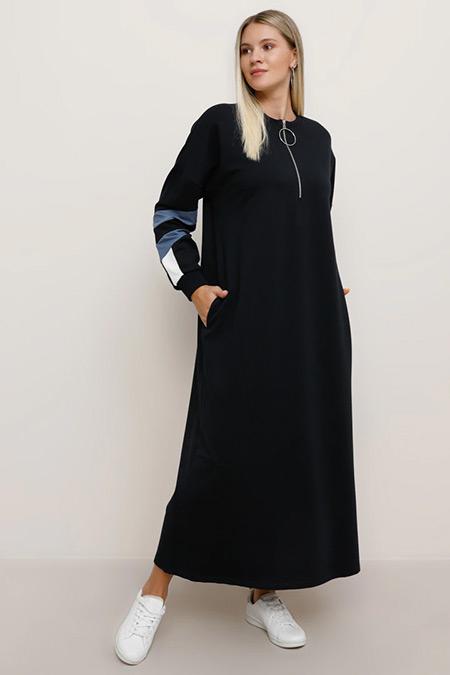 Alia Lacivert İndigo Ekru Cep Detaylı Spor Elbise