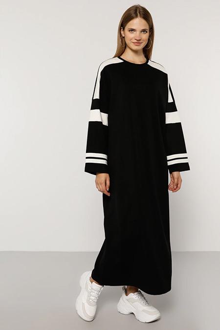 Alia Siyah Ekru Doğal Kumaşlı Garnili Elbise