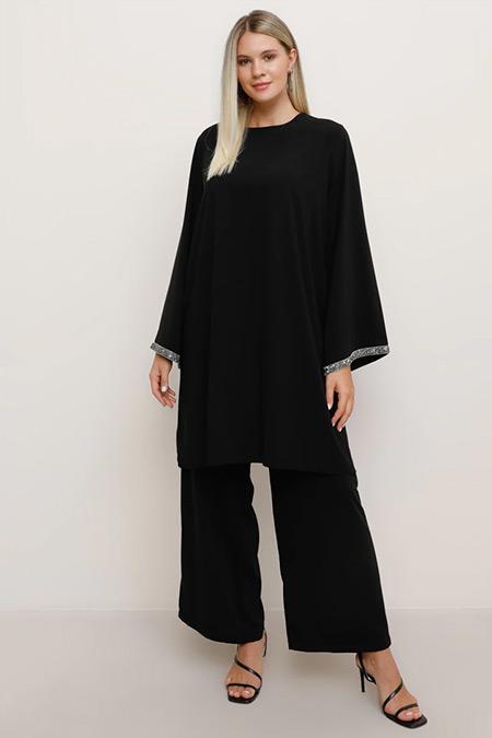 Alia Siyah Kol Ucu Taşlı Tunik&Pantolon Abiye Takım