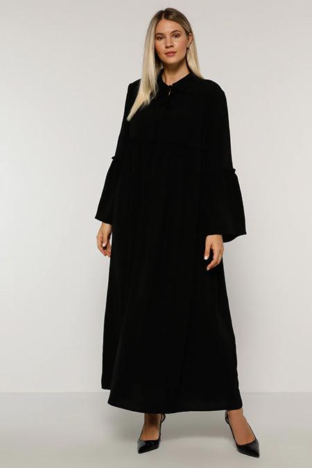 Alia Siyah Yakası Bağlamalı Elbise