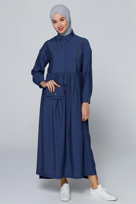 Armine İndigo Çanta Aksesuarlı Elbise