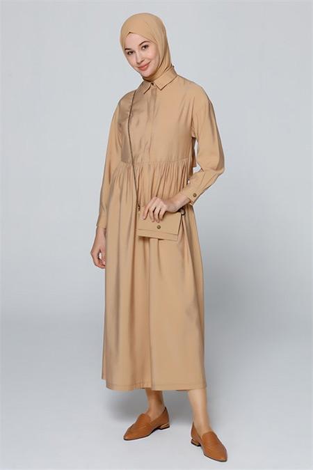 Armine Camel Çanta Aksesuarlı Elbise