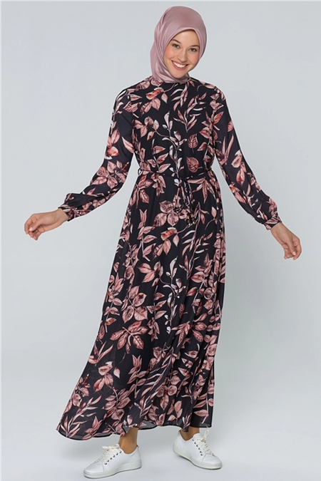 Armine Kiremit Çiçek Desenli Elbise
