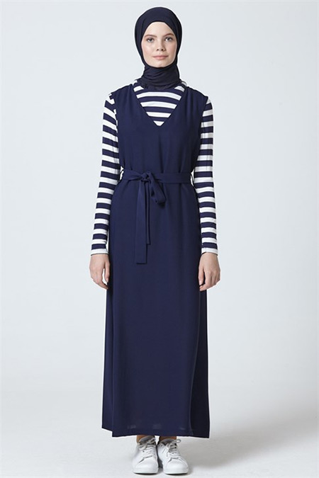 Armine Lacivert Elbise