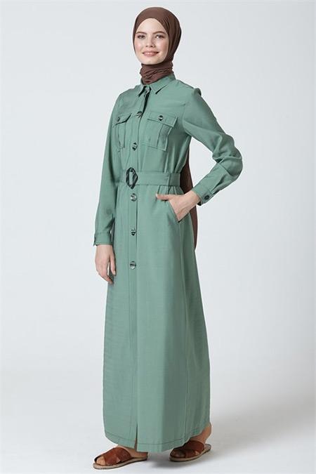 Armine Yeşil Kemerli Elbise