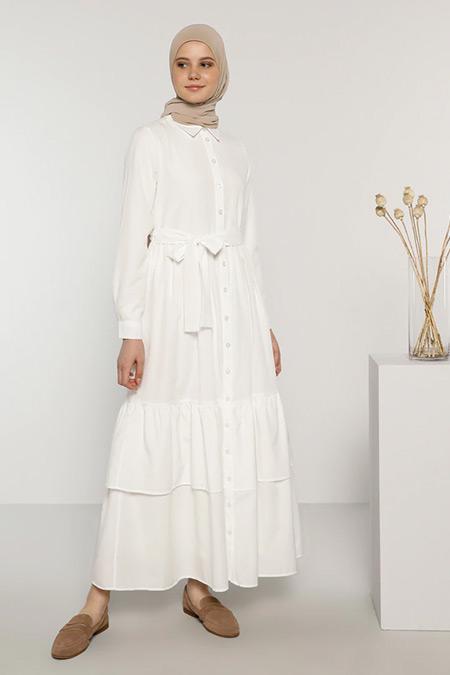 Benin Beyaz Boydan Düğmeli Pamuklu Elbise