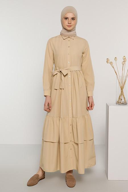 Benin Camel Boydan Düğmeli Pamuklu Elbise