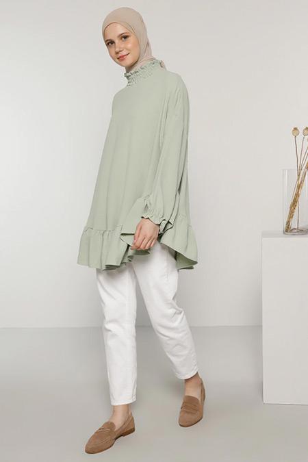 Benin Nil Yeşili Volanlı Bluz