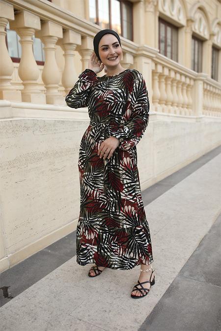 Elizamoda Bordo Palmiye Desen Çiçekli Tesettür Elbise