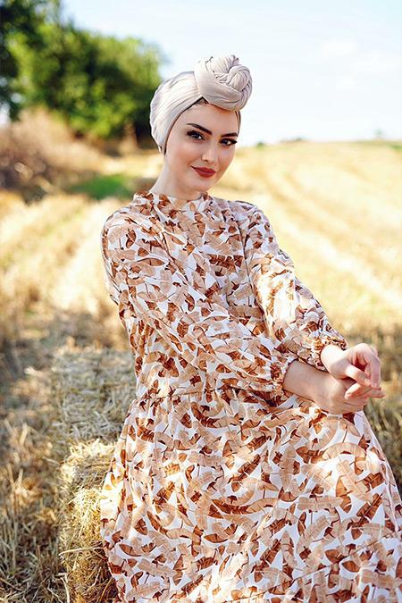 Elizamoda Camel Yaprak Desenli Tesettür Elbise