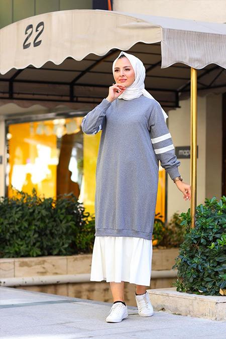 Elizamoda Füme Fırfırlı Şerit Detaylı Tesettür Elbise