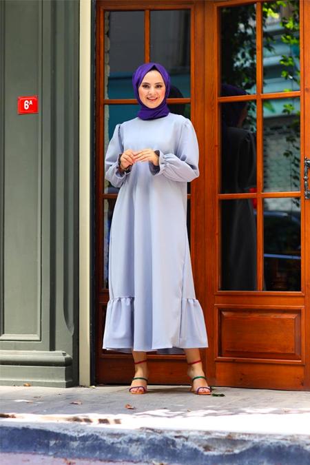 Elizamoda Gri Bel Büzgülü ve Fırfır Detaylı Tesettür Elbise