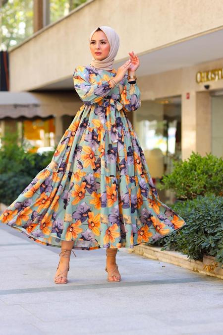 Elizamoda Haki Kol Büzgülü Çiçekli Tesettür Elbise