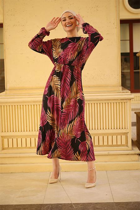 Elizamoda Kırmızı Palmiye Desenli Tesettür Elbise