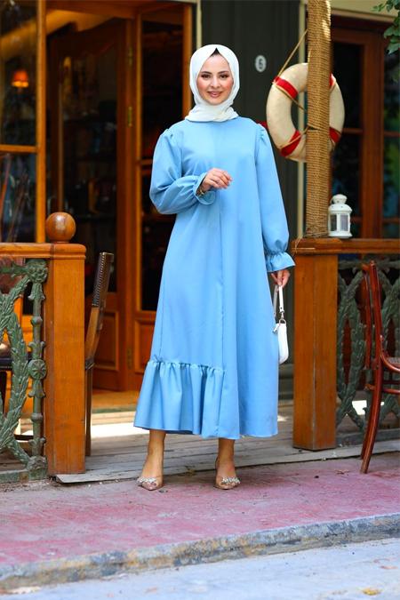 Elizamoda Mavi Bel Büzgülü ve Fırfır Detaylı Tesettür Elbise