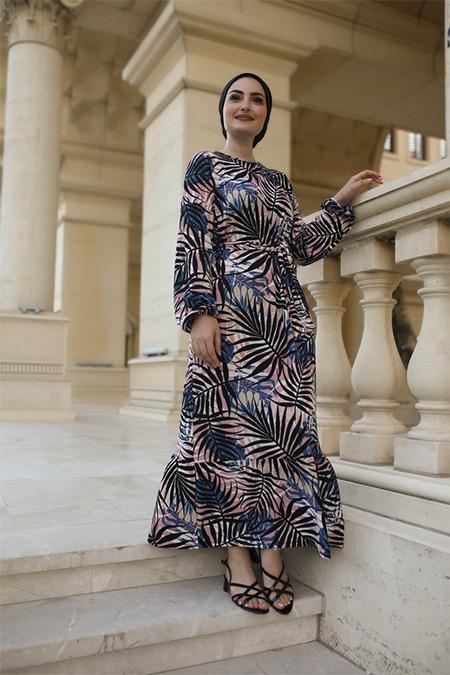 Elizamoda Mavi Palmiye Desen Çiçekli Tesettür Elbise