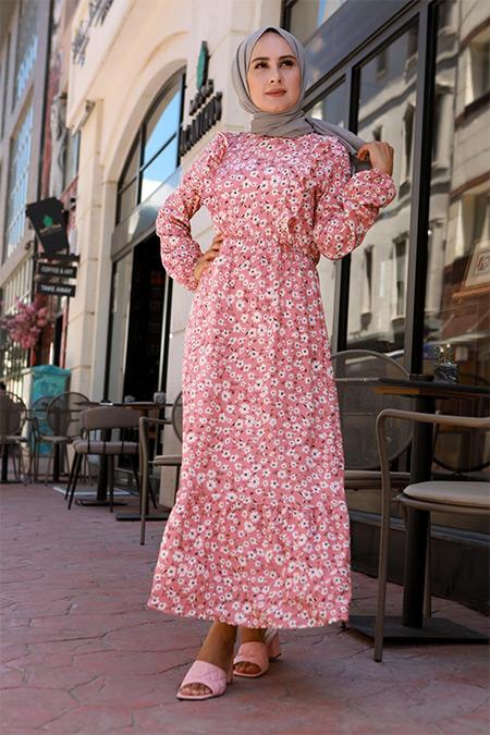 Elizamoda Pembe Önü Fırfır Detaylı Tesettür Elbise