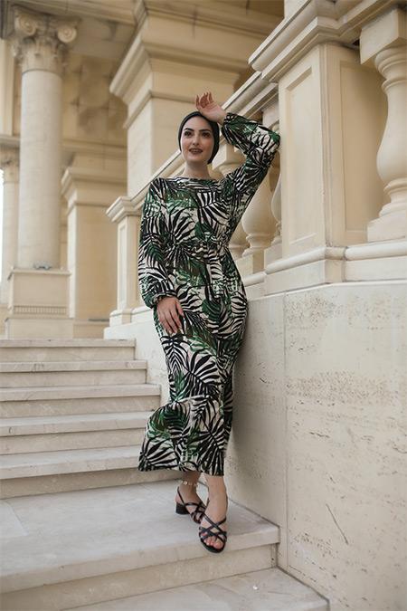 Elizamoda Zümrüt Palmiye Desen Çiçekli Tesettür Elbise