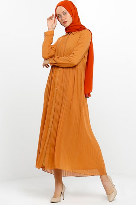 Gazella Tarçın Boydan Düğmeli Şifon Elbise