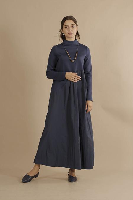 HE-QA Lacivert Asimetrik Elbise
