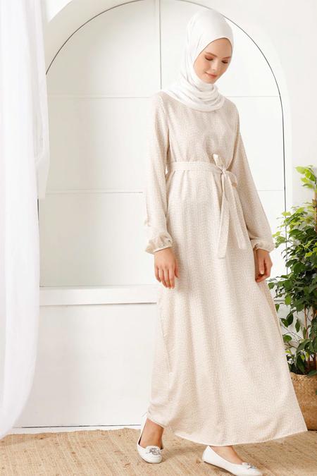 İnşirah Bej Çiçek Desenli Elbise