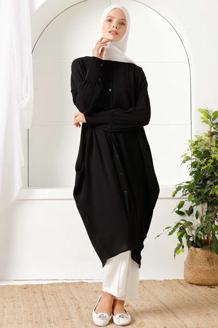 İnşirah Siyah Düğmeli Cepli Tunik
