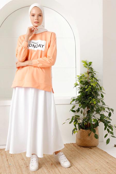 İnşirah Somon Tunik & Etek İkili Takım