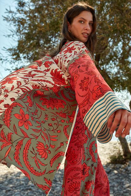 LC Waikiki & Oopscool Ekru Baskılı Çiçek Desenli Ceket