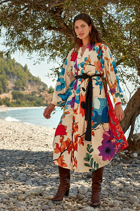 LC Waikiki & Oopscool Ekru Baskılı Çiçekli Kemerli Kimono