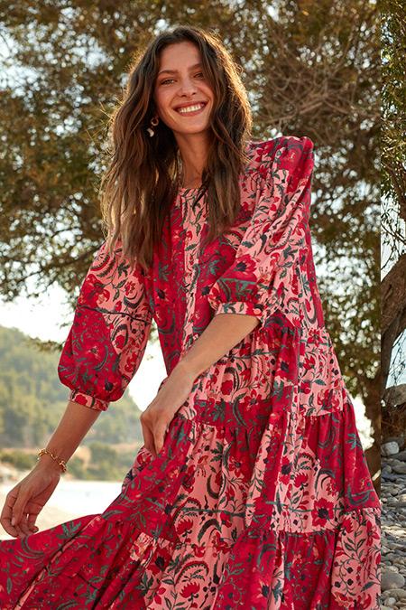LC Waikiki & Oopscool Kırmızı Baskılı Çiçek Desenli Fırfır Detaylı Elbise