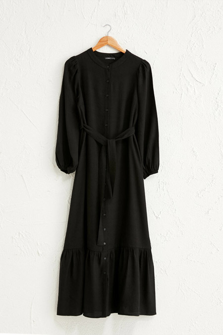 LC Waikiki Siyah Düz Volanlı Elbise